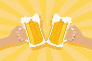 banner de celebração do dia da cerveja com canecas comemorando vetor