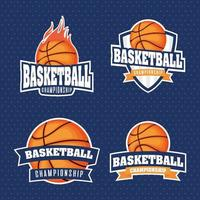 conjunto de emblema de esportes do campeonato de basquete vetor