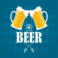 composição de celebração do dia da cerveja com canecas torcendo vetor