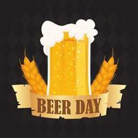 composição de celebração do dia da cerveja com caneca cheia vetor