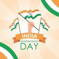 banner de celebração do feliz dia da independência da Índia