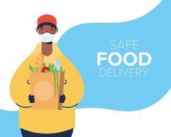 banner de entrega de comida segura com trabalhador e mantimentos vetor