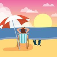 mulher tomando banho de sol na praia, cenário de verão