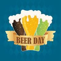 composição de celebração do dia da cerveja com cerveja colorida vetor
