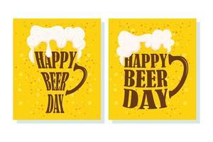 conjunto de banner de celebração do dia da cerveja vetor