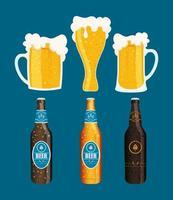 conjunto de ícones de celebração do dia da cerveja vetor