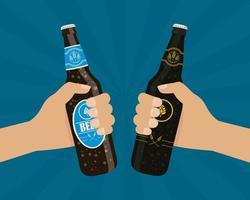 composição de celebração do dia da cerveja com garrafas comemorando vetor
