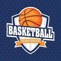 emblema do escudo esportivo do campeonato de basquete com bola vetor