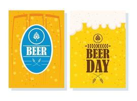 pôster comemorativo do dia da cerveja com carimbo do selo vetor