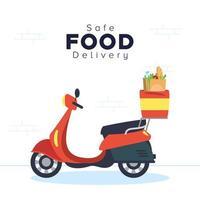 Banner de entrega segura de comida com scooter e mantimentos vetor
