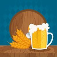 composição de celebração do dia da cerveja com barril e caneca vetor