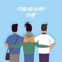 jovens felizes se abraçando para a celebração do dia da amizade vetor