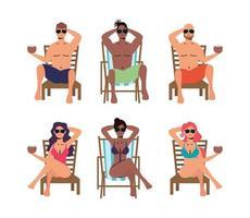 conjunto de pessoas tomando banho de sol em cadeiras vetor