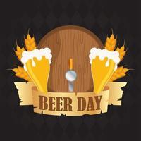 composição de celebração do dia da cerveja com barril e copos vetor