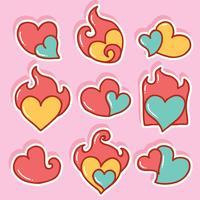 Coração desenhado mão com coração flamejante vetor