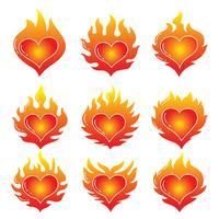 Coração flamejante no vetor branco