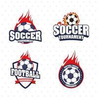 conjunto de ícones de emblema de esportes de futebol futebol vetor