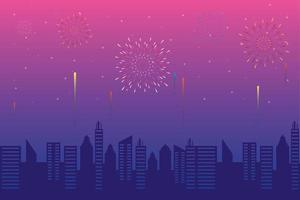fogos de artifício estouram explosões com vista da cidade à tarde