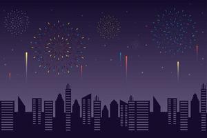 fogos de artifício explodem com uma paisagem à noite