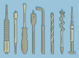 Coleção de ferramentas de reparo desenhadas à mão no vetor azul