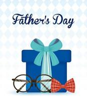cartão feliz dia dos pais com caixa de presente vetor