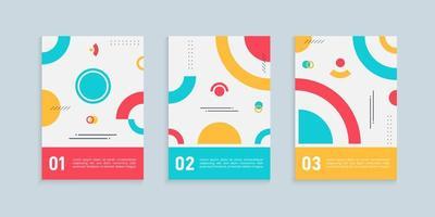 conjunto de designs de capa estilo memphis vetor