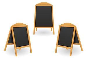 modelo em branco do quadro de menu preto de madeira vetor
