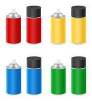 conjunto de tinta spray em uma lata de metal vetor