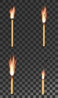 conjunto queimando fósforo de madeira carbonizado vetor