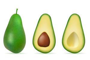 Conjunto de abacate verde com frutas maduras frescas