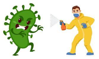 homem lutando contra vírus vetor
