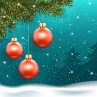 banner de ano novo com bolas de natal