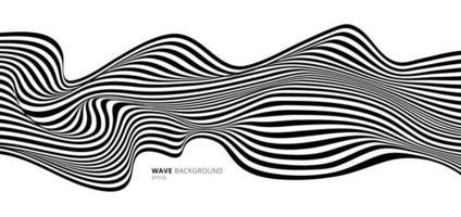 arte óptica de listras abstratas em preto e branco vetor