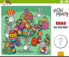 quantos ovos de páscoa tarefa educacional para crianças vetor