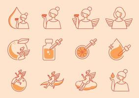 ícone de anjo com vitamina c de laranja vetor