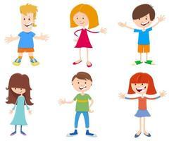 Conjunto de personagens de desenhos animados para crianças felizes vetor