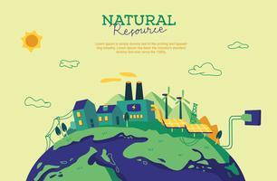 Ilustração de vetor de fundo de recursos naturais