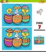 jogo de diferenças com personagens de desenhos animados de páscoa vetor