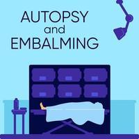 cerimônia de autópsia e embalsamamento vetor