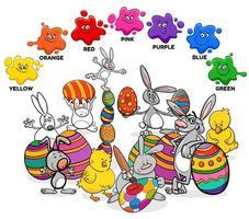 cores básicas com grupo de personagens de páscoa vetor