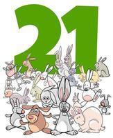 número vinte e um e grupo de coelhos de desenho animado vetor
