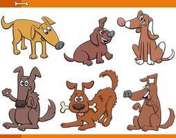 conjunto de personagens de animais de cães e filhotes de desenhos animados vetor