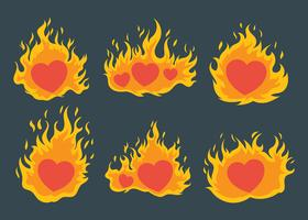 conjunto de vetores de coração flamejante