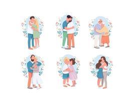 conjunto de personagens abraçando