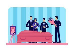 cerimônia fúnebre em pé ao redor do caixão vetor