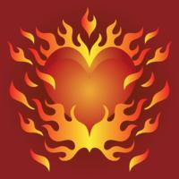 Coração flamejante do coração