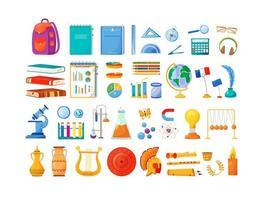 disciplinas escolares e objetos de suprimentos definidos vetor