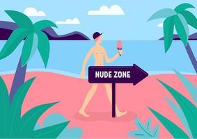 praia da zona de nudismo vetor