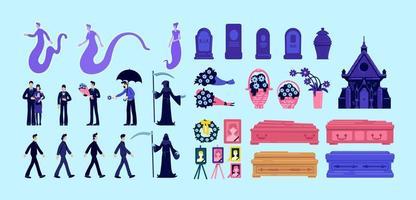 Conjunto de objetos de morte e funeral vetor