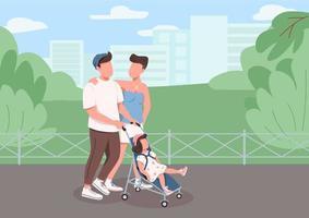jovem família caminhando vetor